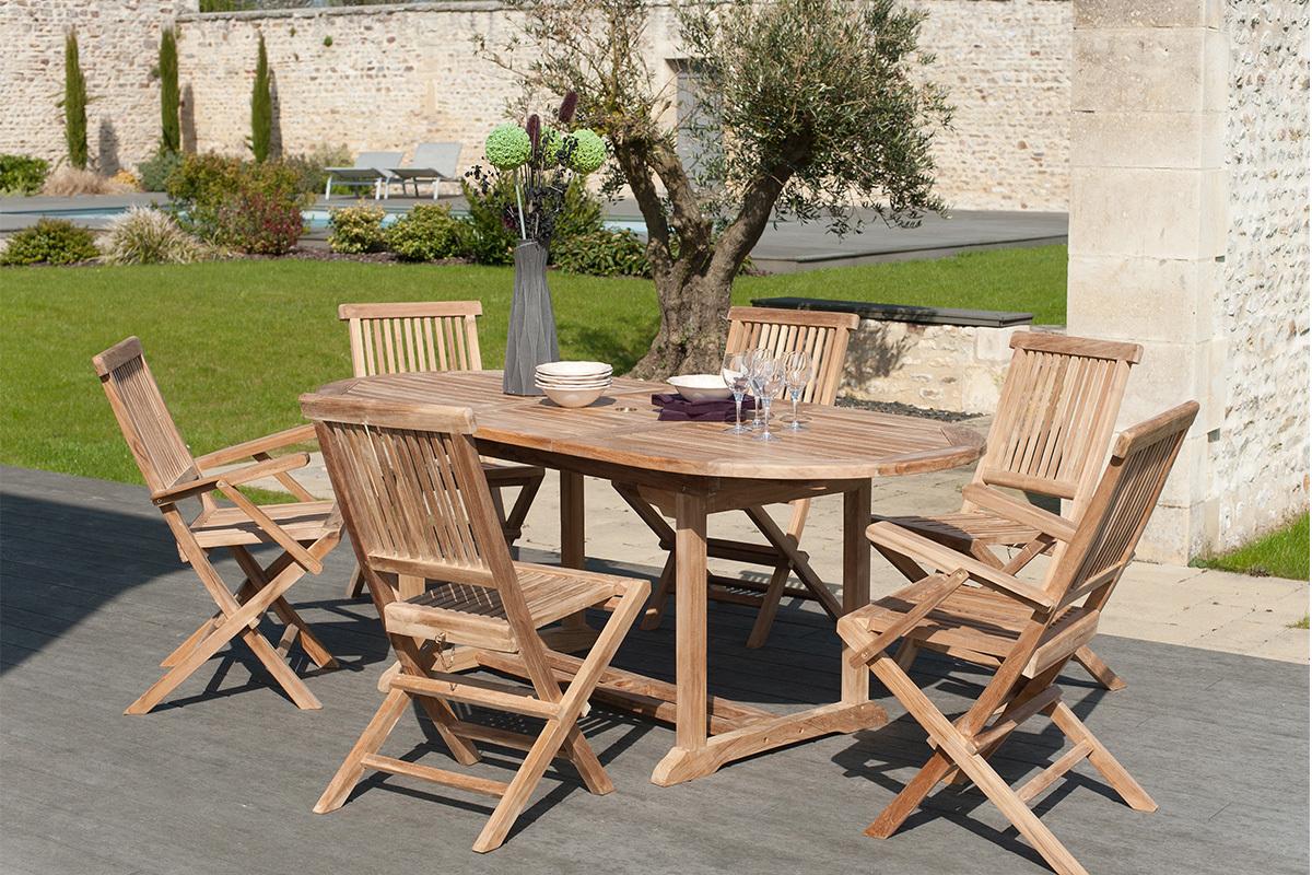 chaises de jardin en teck lot de 2 borneo miliboo. Black Bedroom Furniture Sets. Home Design Ideas