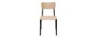 Chaises d'écolier empilables en métal noir et bois clair (lot de 2) SCHOOL