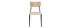 Chaises d'écoliers empilables en métal bleu canard et bois clair (lot de 2) SCHOOL