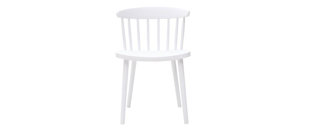 Chaises design à barreaux blanches intérieur / extérieur (lot de 2) HOLLY