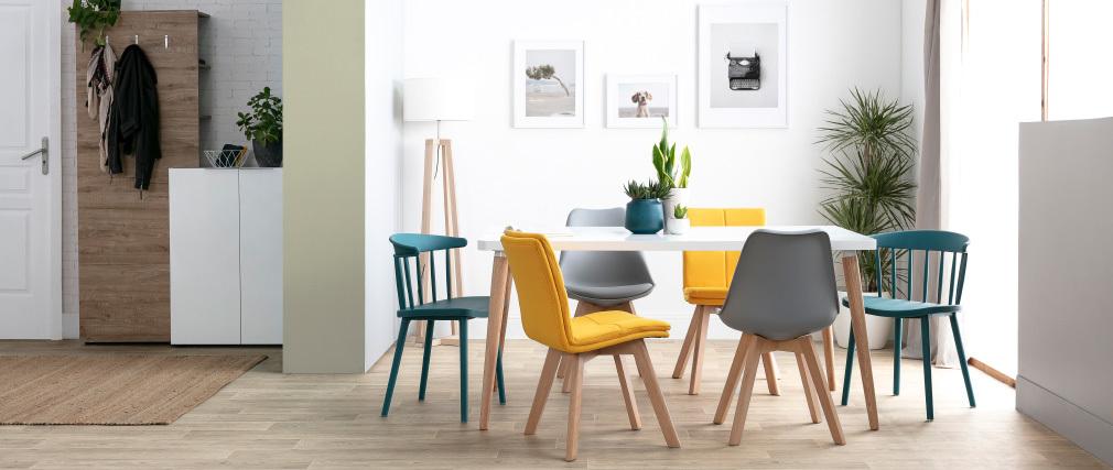 Chaises design à barreaux bleu canard intérieur / extérieur (lot de 2) HOLLY