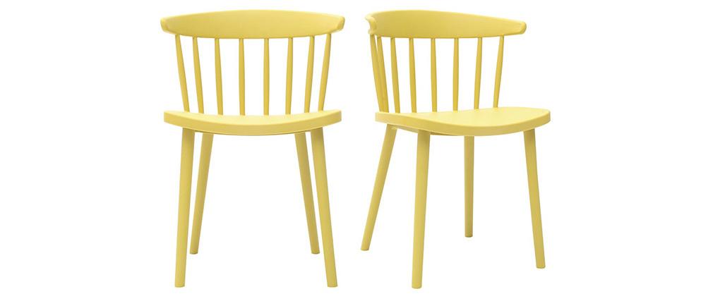 Chaises design à barreaux jaunes intérieur / extérieur (lot de 2) HOLLY