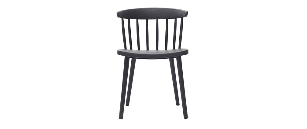 Chaises design à barreaux noires intérieur / extérieur (lot de 2) HOLLY