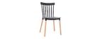 Chaises design bicolores noir et bois (lot de 2) GAMBO