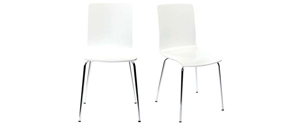Chaises design blanches (lot de 2) NELLY