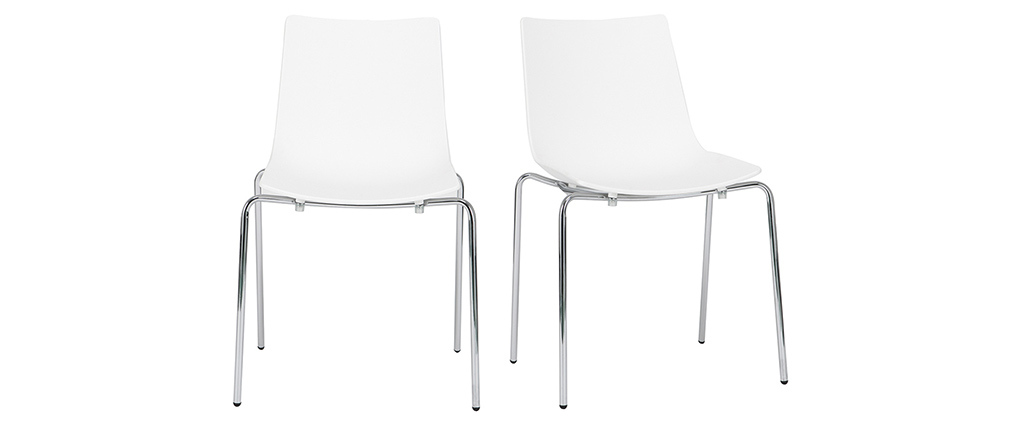 Chaises design blanches empilables avec pieds en métal (lot de 2) CELEBRATION