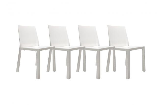 Chaises design blanches laqu es en polycarbonate mona lot de 4 miliboo - Chaises laquees blanches ...