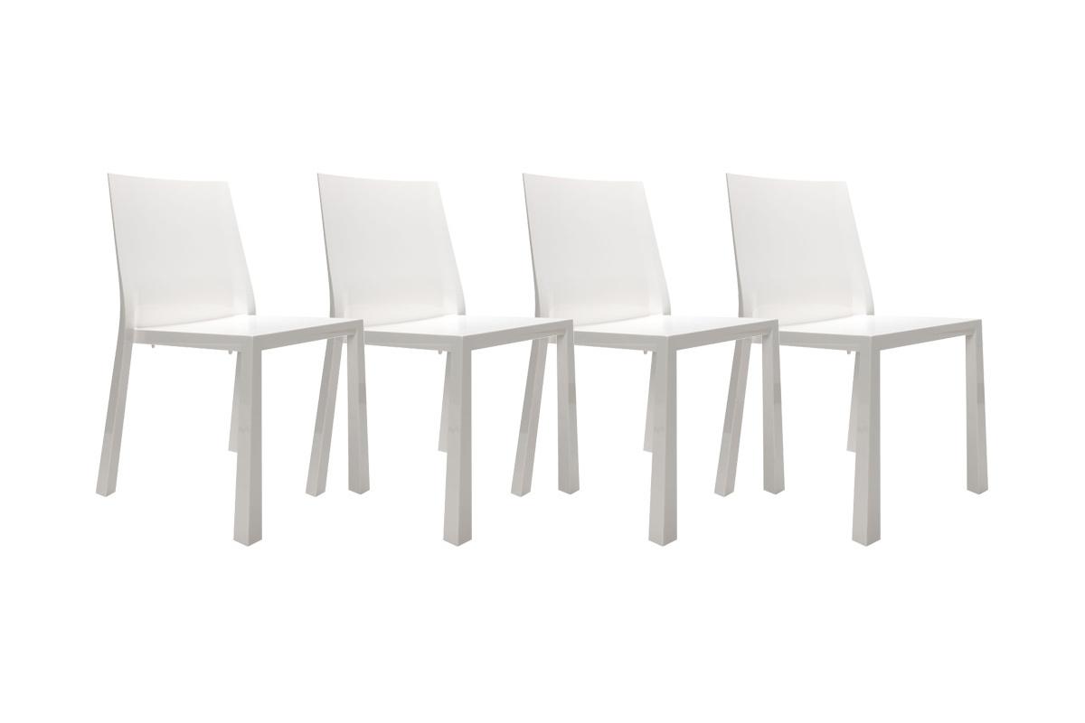 Chaises design blanches laqu es en polycarbonate mona lot de 4 miliboo - Chaises blanches design ...