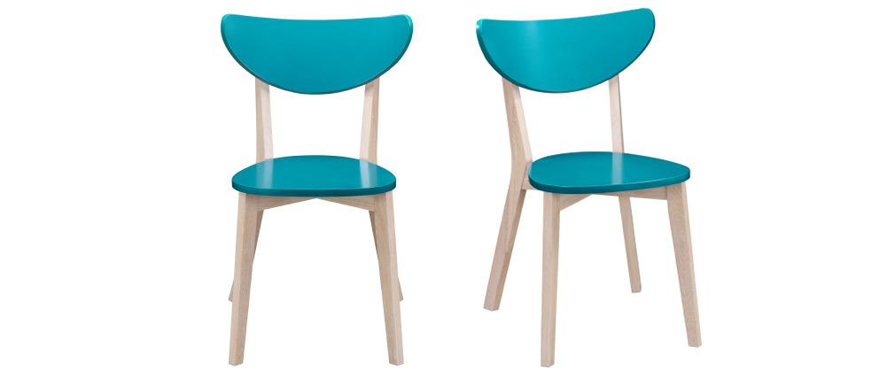 Chaises design bleu canard pieds bois (lot de 2) LEENA
