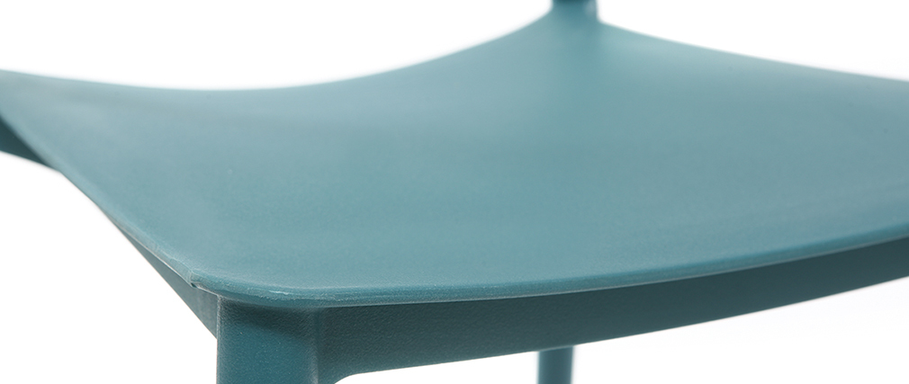 Chaises design bleu canard polypropylène empilables (lot de 2) ANNA