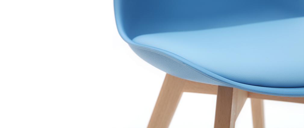Chaises design bleu ciel avec pieds bois clair (lot de 2) PAULINE