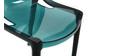 Chaises design bleu pétrole empilables intérieur / extérieur (lot de 2) YZEL