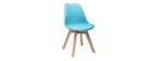 Chaises design bleues avec pieds bois (lot de 2) PAULINE