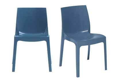 Chaises design bleues lot de 2 MAELI