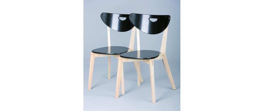 Chaises design bois et noir laqué LEENA (lot de 2)