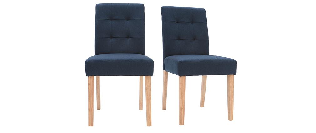 Chaises design capitonnées tissu bleu foncé pieds bois (lot de 2) ESTER