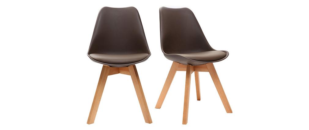 Chaises design chocolat avec pieds bois clair (lot de 2) PAULINE