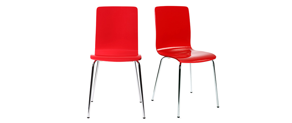 Chaises design cuisine rouges (lot de 2) NELLY