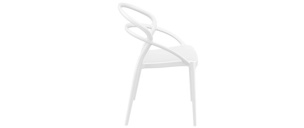 Chaises design empilables blanches intérieur / extérieur (lot de 4) COLIBRI
