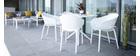 Chaises design empilables blanches intérieur / extérieur (lot de 4) OSKOL