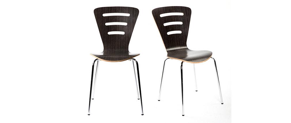 Chaises design empilables bois noir (lot de 2) LENA