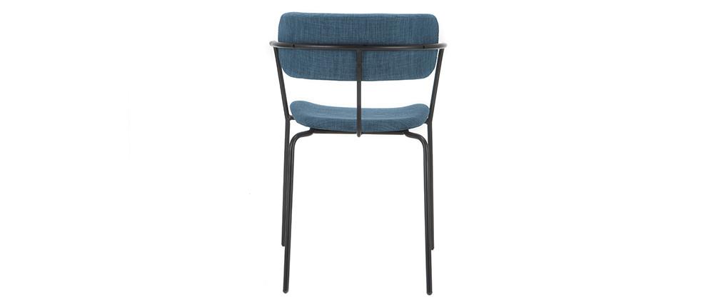 Chaises design empilables en métal noir et tissu bleu canard (lot de 2) ANGEL