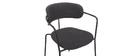 Chaises design empilables en métal noir et tissu gris foncé (lot de 2) ANGEL