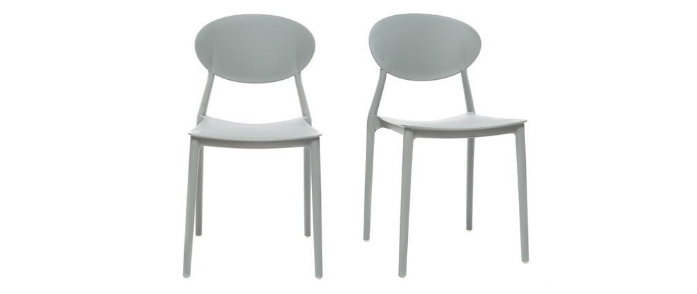 Chaises design empilables grises intérieur / extérieur (lot de 2) ANNA