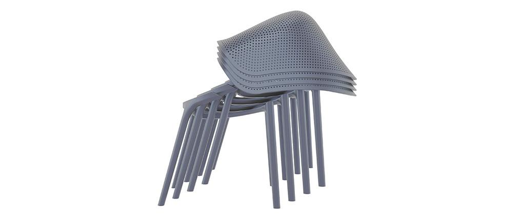 Chaises design empilables grises intérieur / extérieur (lot de 4) OSKOL