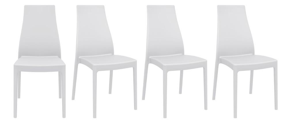 Chaises design empilables intérieur / extérieur blanches (lot de 4) CONDOR