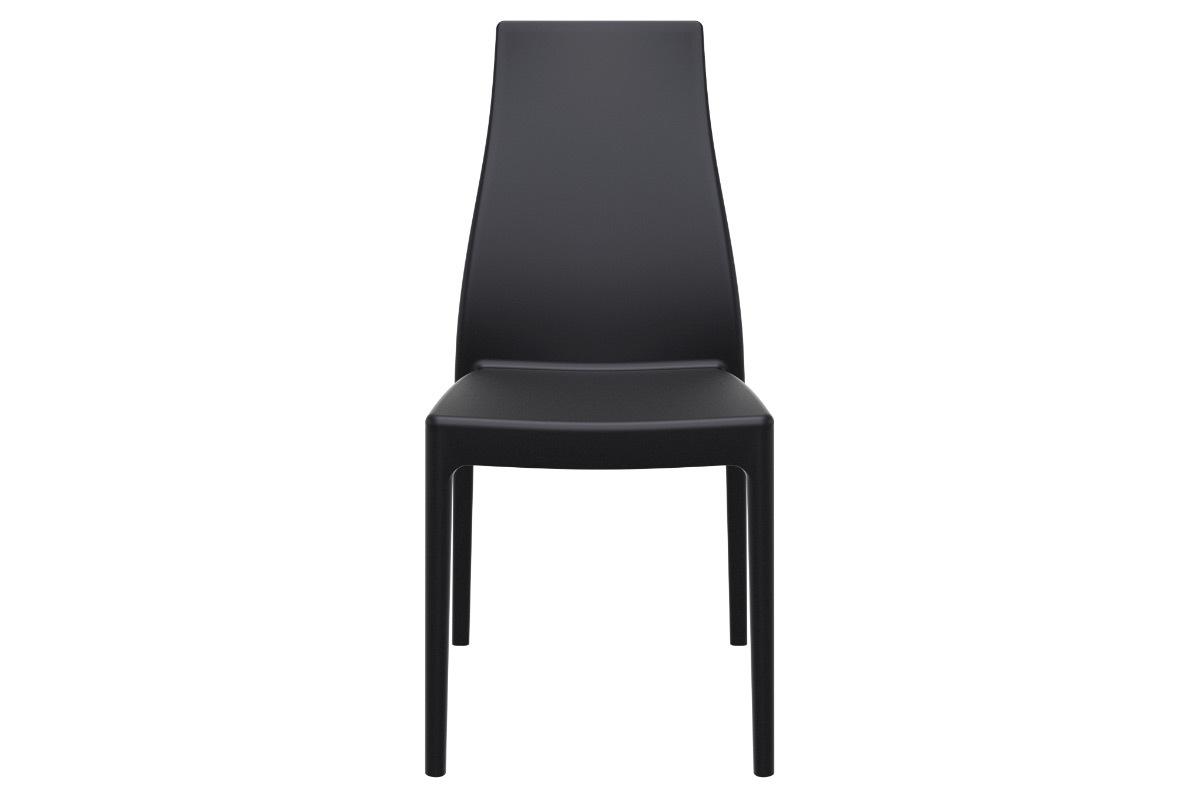 Chaises design empilables intérieur extérieur noires (lot