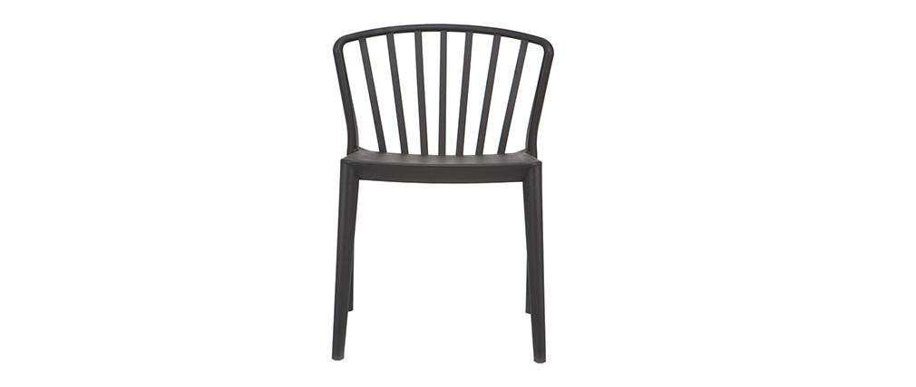 Chaises design empilables noires intérieur / extérieur (lot de 2) PATIO