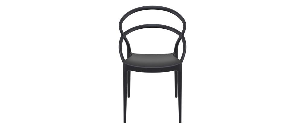 Chaises design empilables noires intérieur / extérieur (lot de 4) COLIBRI