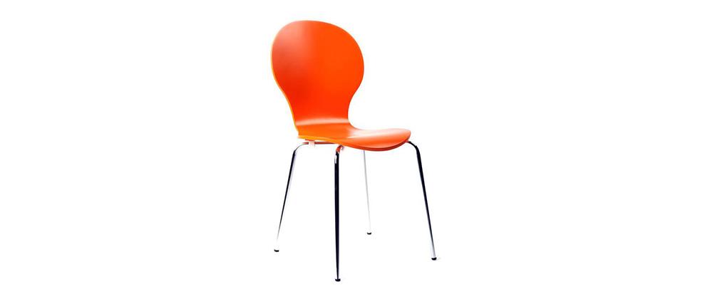 Chaises design empilables oranges (lot de 2) NEW ABIGAIL