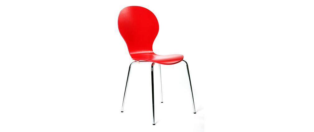 Chaises design empilables rouges (lot de 2) NEW ABIGAIL