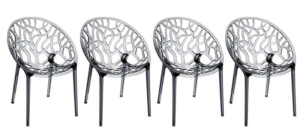 Chaises design empilables transparentes fumées (lot de 4) ARBOL