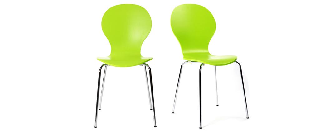 Chaises design empilables vertes pomme (lot de 2) NEW ABIGAIL