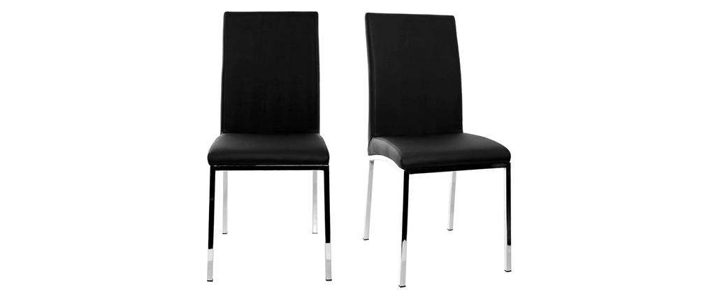 Chaises design en polyuréthane noir (lot de 2) SIMEA