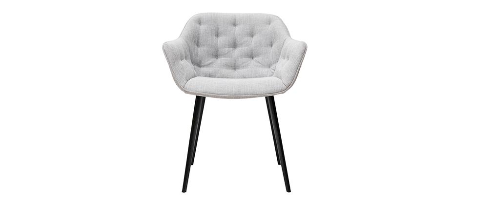 Chaises design en tissu gris clair et pieds métal noir (lot de 2) BURTON