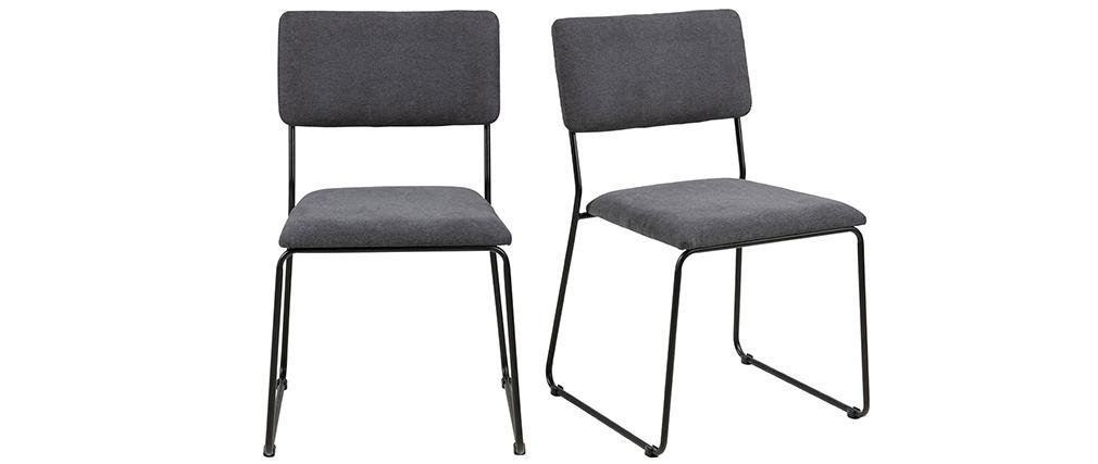 Chaises design en tissu gris et métal (lot de 2) FLORE