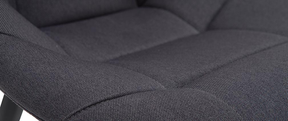 Chaises design en tissu gris foncé et métal (lot de 2) COX