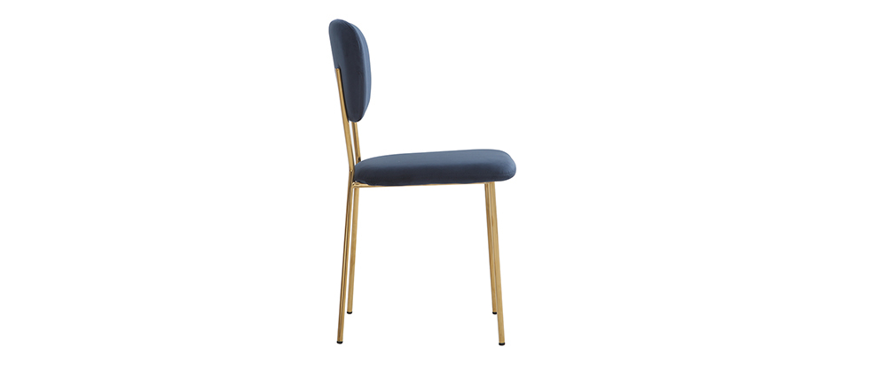 Chaises design en velours bleu et structure en métal doré (lot de 2) LEPIDUS