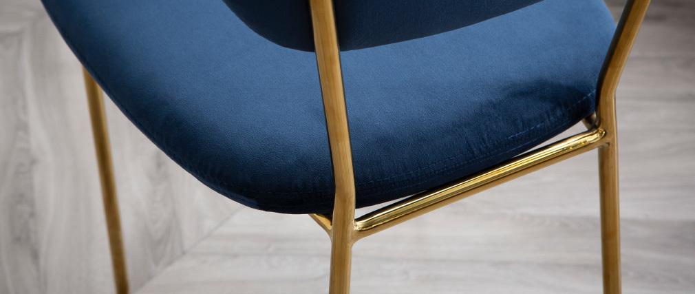Chaises design en velours bleu foncé et métal doré (lot de 2) LEPIDUS