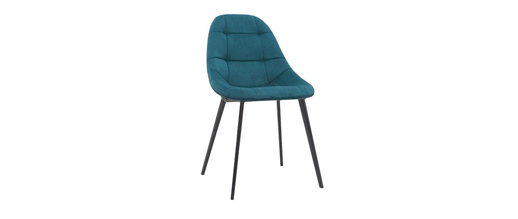 Chaises design en velours bleu pétrole et métal (lot de 2) COX