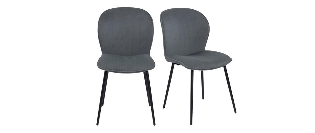 Chaises design en velours côtelé gris et métal (lot de 2) ADDICT