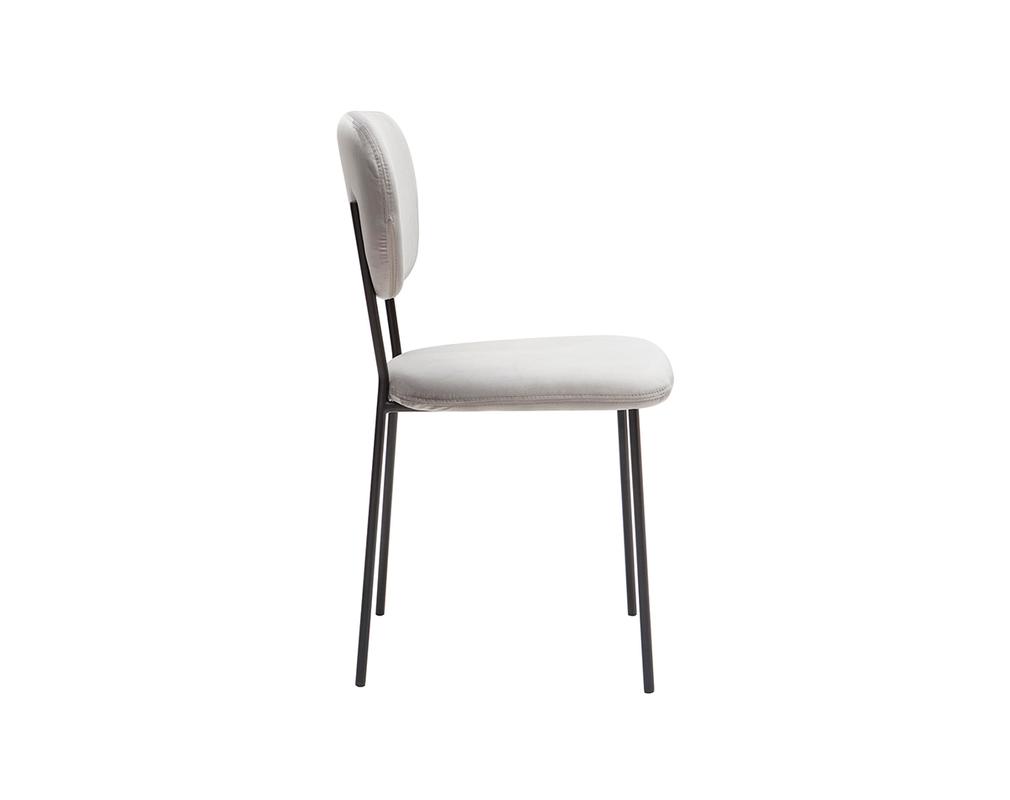 Chaises design en velours gris et métal noir (lot de 2