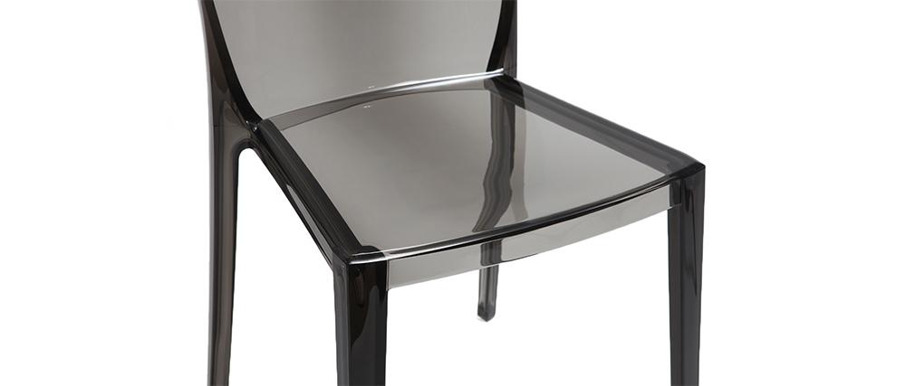 Chaises design fumée transparentes empilables (lot de 2) ISLAND