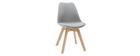 Chaises design gris clair avec pieds bois clair (lot de 2) PAULINE