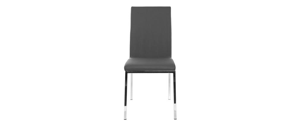Chaises design gris clair et métal (lot de 2) SIMEA