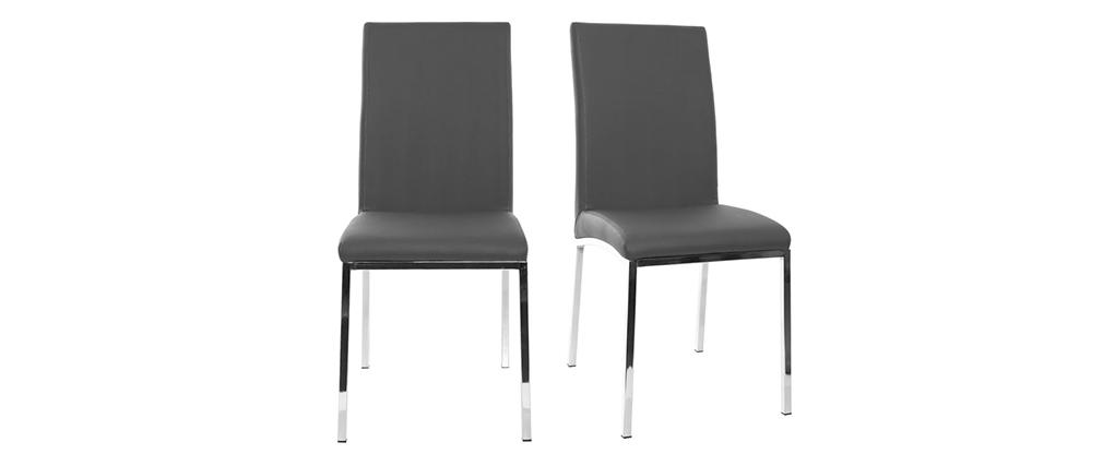 Chaises design gris et métal (lot de 2) SIMEA
